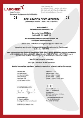 Declaration Labomed eVO300 and eVO400